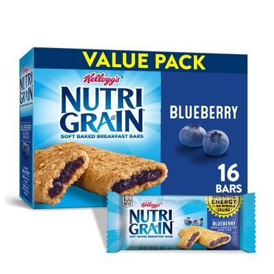 * Kellogg's Nutri-Grain Blueberry Cereal Bars 16-1.3 Ounces