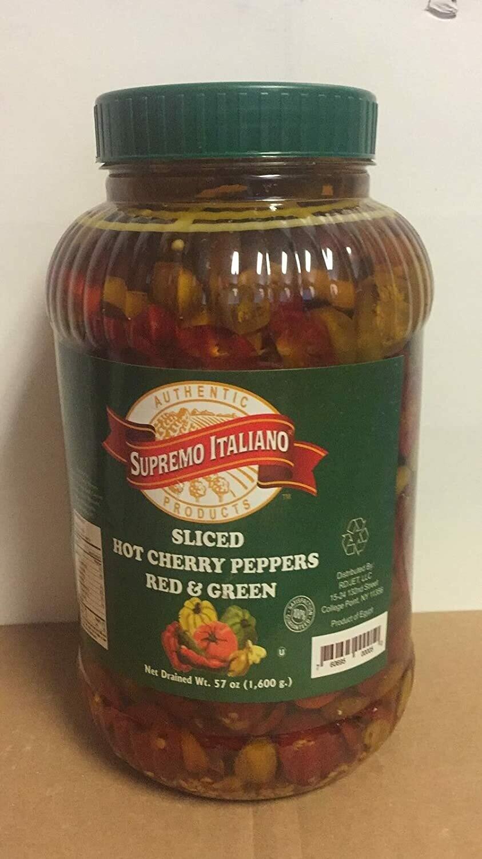 * Supremo Italiano Sliced Hot Cherry Peppers 1 Gallon