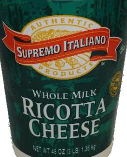 * Supremo Italiano Whole Milk Ricotta Cheese 3 Pounds