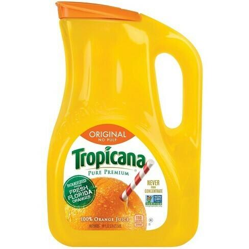 * Tropicana 100% Pure Premium Orange Juice No Pulp 1 Gallon