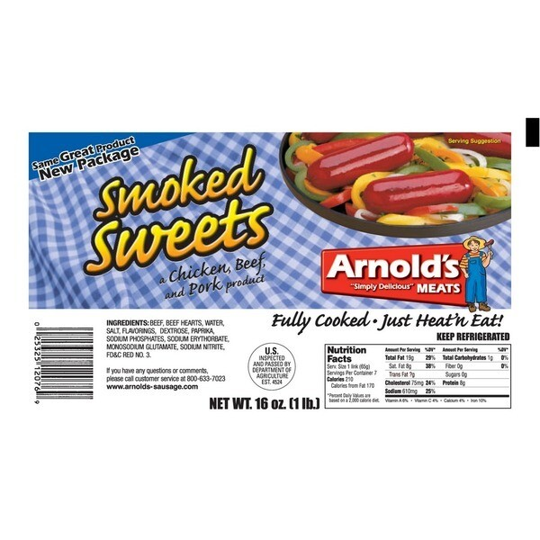 * Arnold's Meat Smoked Sweet Beef Sausage 1 Pound