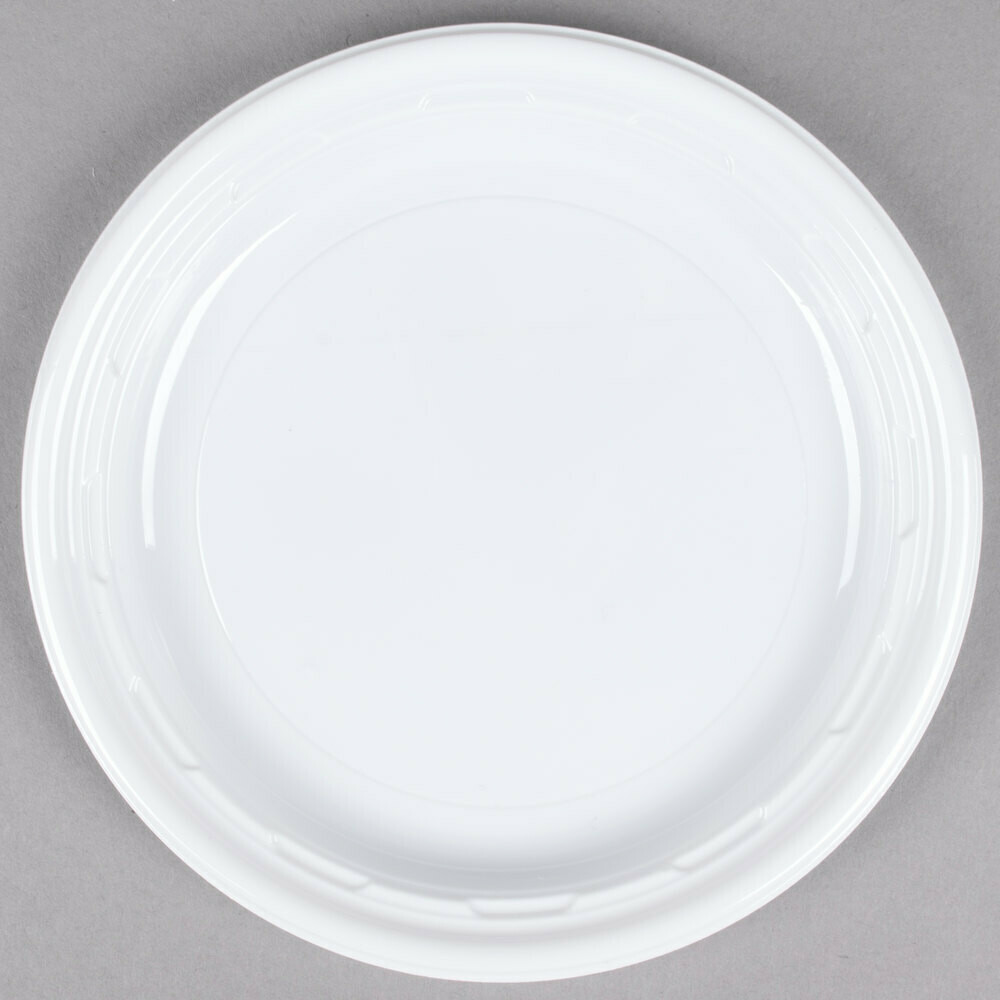 "* Dart 6"" White Impact Plastic Plate 125 Count"