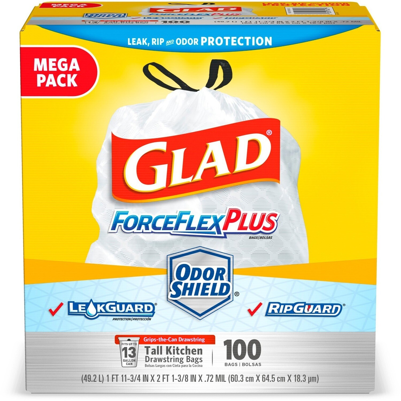 * Glad Forceflex Tall Kitchen Drawstring Trash Bags, 13 Gallon, 100 Count