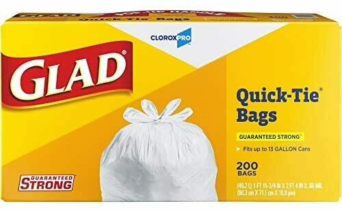 * Glad Tall Kitchen Quick-Tie Trash Bags, 13 Gallon, 200 Count