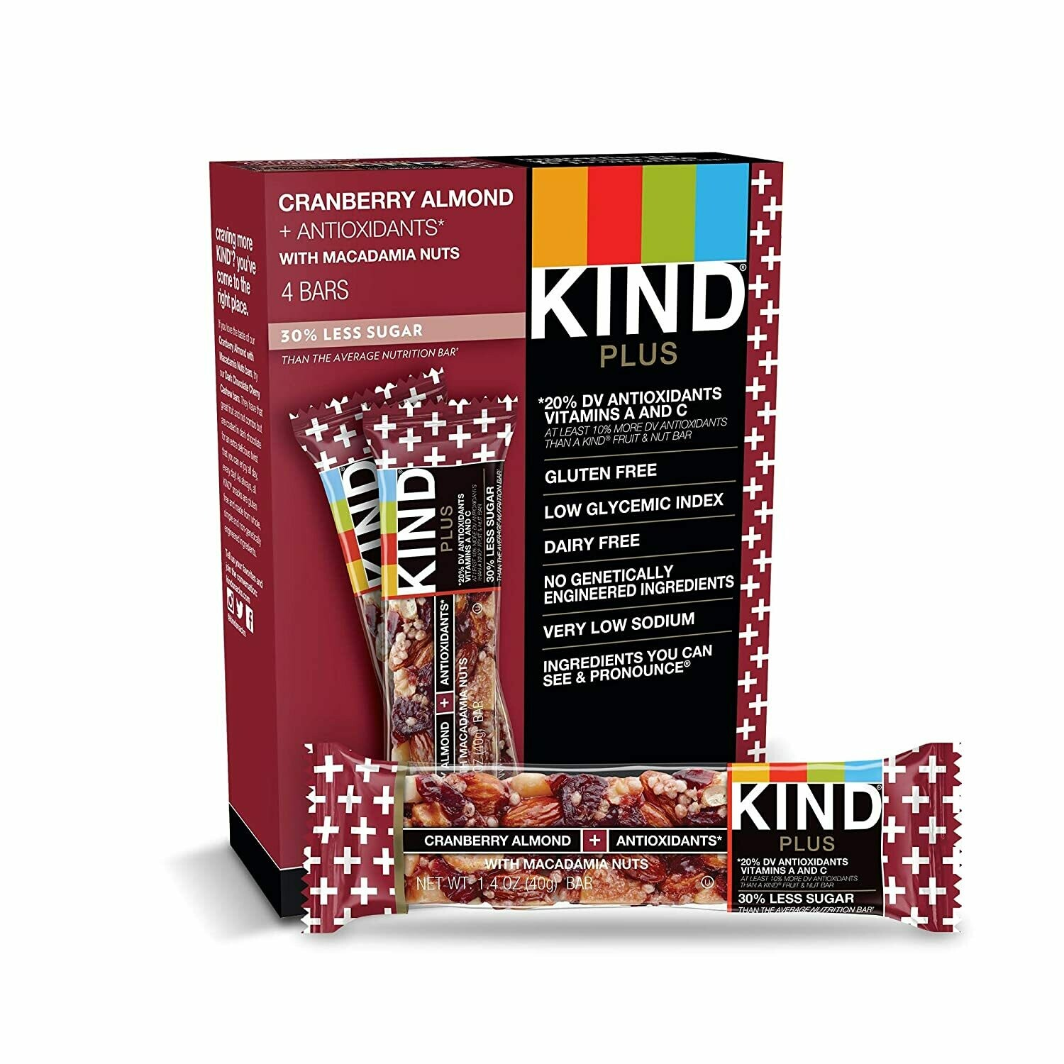 * Kind Plus Cranberry & Almond + Antioxidants Bars 12-1.4 Ounces