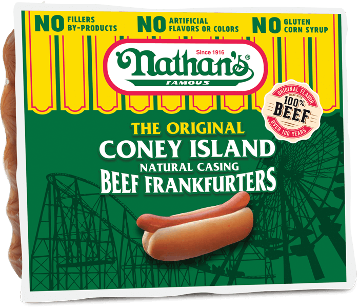 """* Nathan's Famous 10-1 6"""" Skinless Franks"""