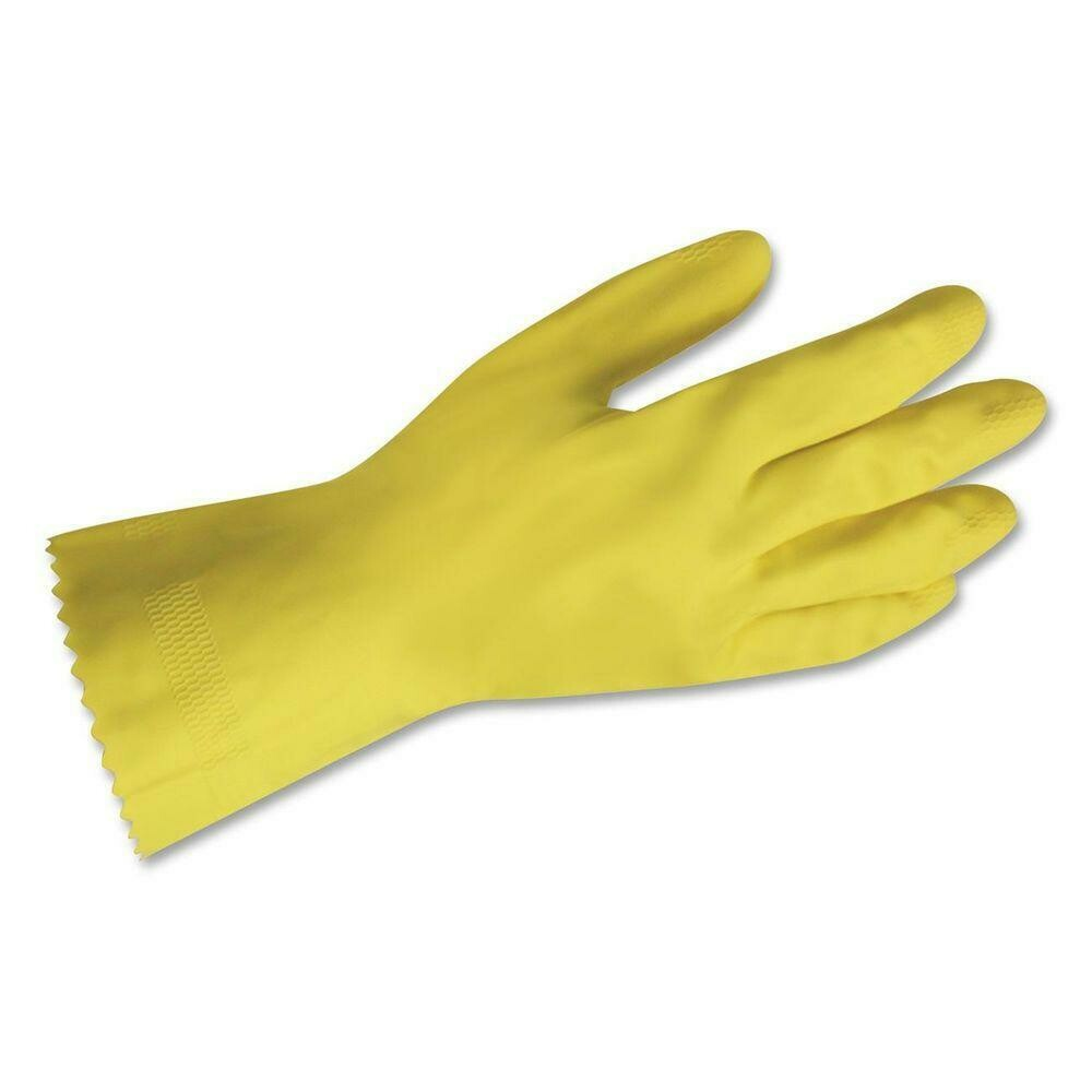* Skyline Yellow Flocked Lined Gloves, Size Large 6 Pair