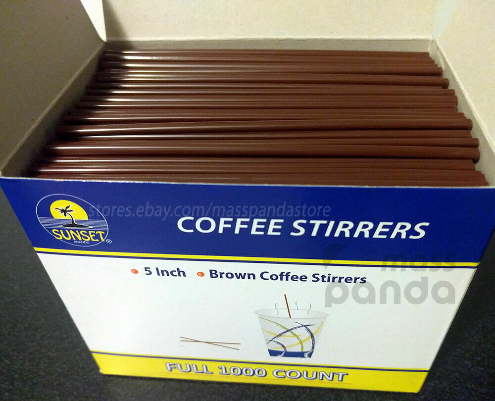 "* Sunset Brown Coffee Stirrers, 7"" 1000 Count"