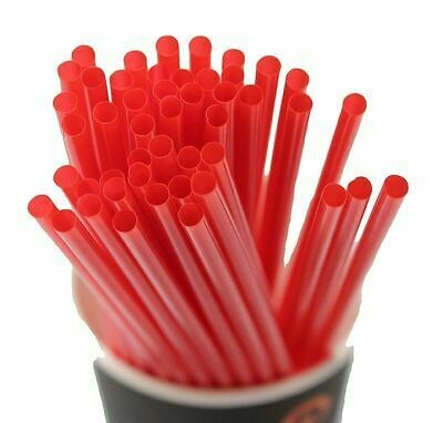 * Sunset Red Jumbo Spoon Straws, Wrapped 300 Count