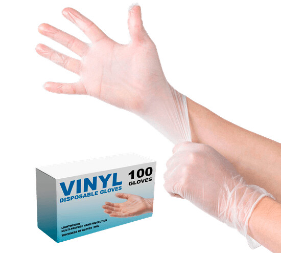 * Sunset Smooth Touch Vinyl Gloves With Powder, Size Large 100 Count