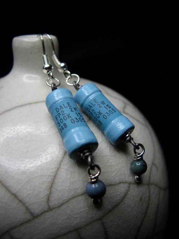 Light Blue Resistor Earrings