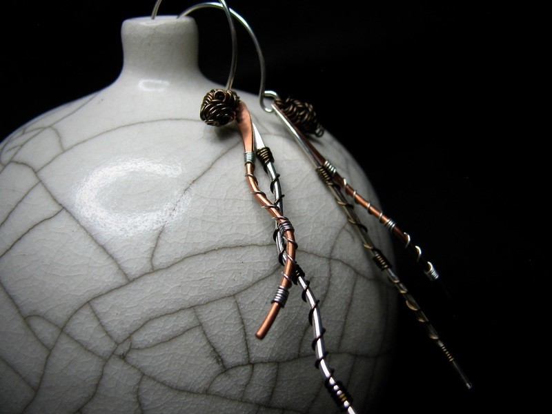 Wrapped Copper and Silver Earrings