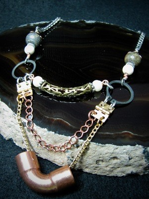 Copper Pipe Hardware Necklace