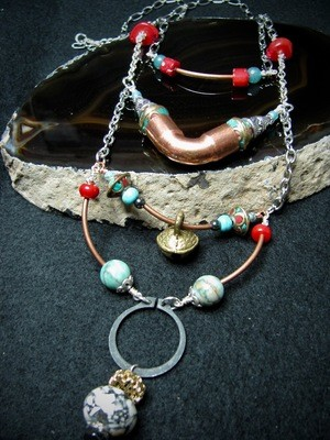 Hardware Necklace with Coral and Turquoise