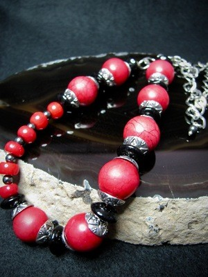 Red Bead Asymmetrical Necklace