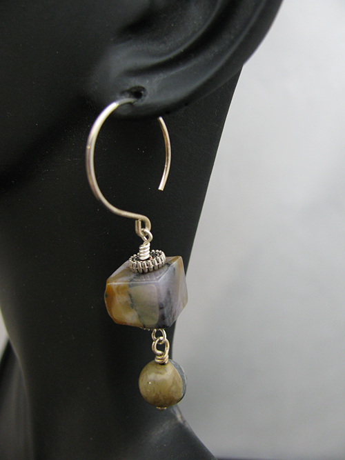 Round Sterling Earwire with Square Stone