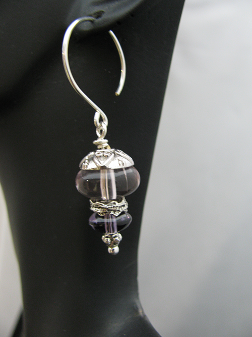 Light Purple Glass Beads with Small Sterling Earwire