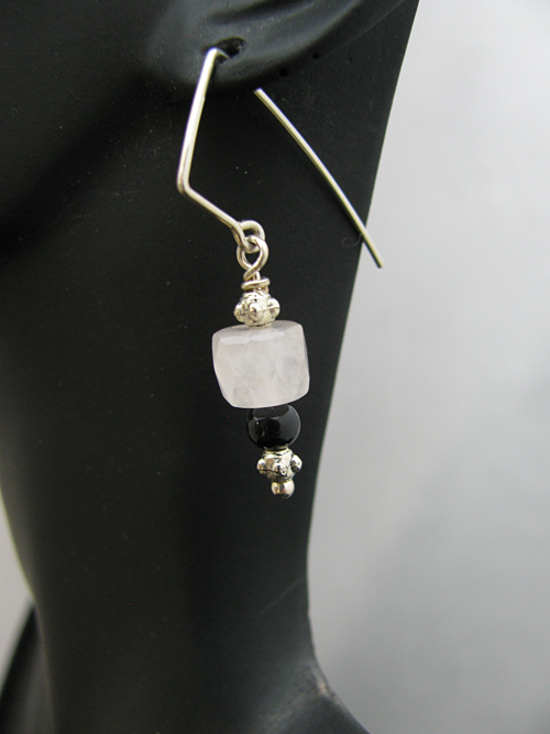 Angled Sterling Silver Earwire with Rose Quartz Bead