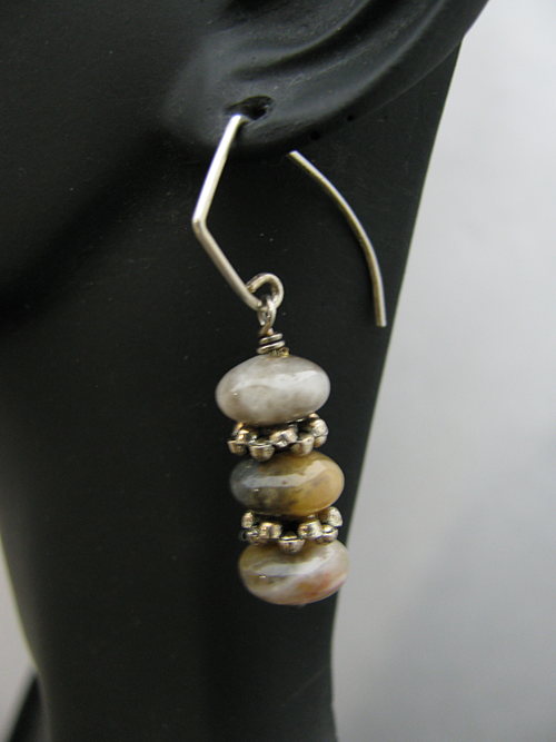 Gray and Tan Jasper on Sterling Silver Earwire