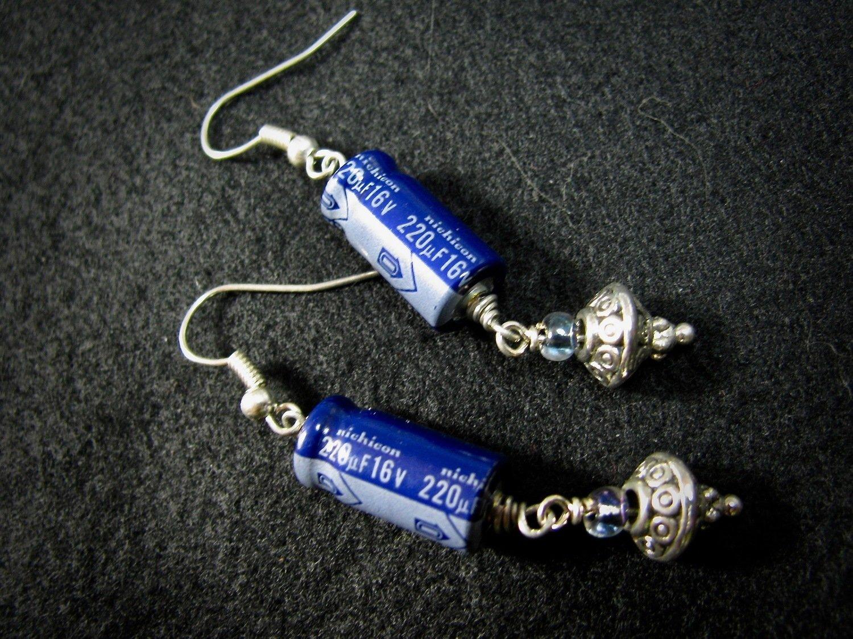 Blue Capacitor Earrings