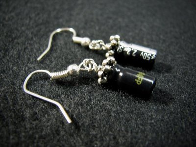 Black Capacitor Earrings