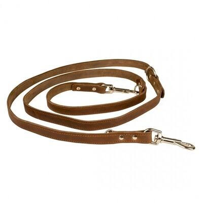 Duvo Leder leiband bruin 100-200cm/18mm