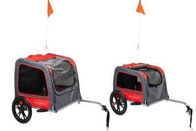 Travel fietskar voor honden rood/grijs Large 130x80x90cm
