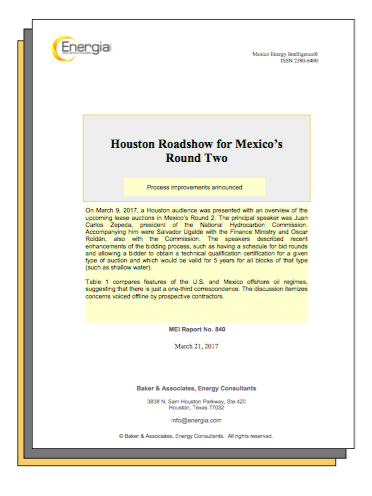 HOUSTON ROADSHOW FOR MEXICO'S ROUND TWO: Many process improvements