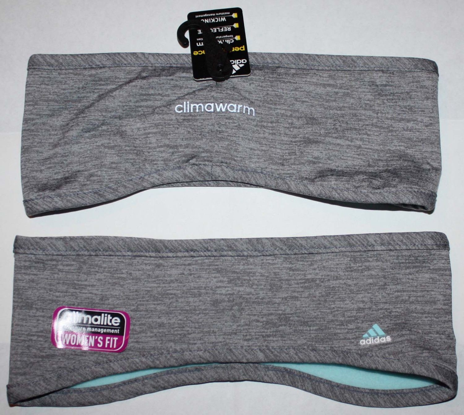 Adidas POWDER Women's Climawarm Gray Blur/Blue Fleece Lined Headband (One Size)