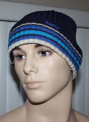 Timberland Men's Ribbed Cuffed Beanie Hat -Blue (One Size)