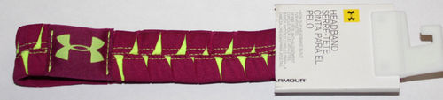"Under Armour Women's 1 ¼"" Eliptic Aubergine/High Vis Yellow Headband (One Size)"