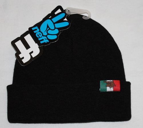 Neff MOOSE PRO Black Knit Cuffed/Uncuffed Beanie Hat (One Size)