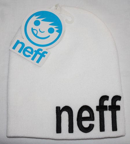 Neff FORM Men's White/Black Neff Wordmark Knit Beanie Hat (One Size)