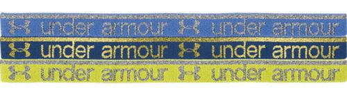 3 Pk Under Armour SILVER SHINE Mini Headbands Ceylon/Armour Gold/Indigo  (One Size)