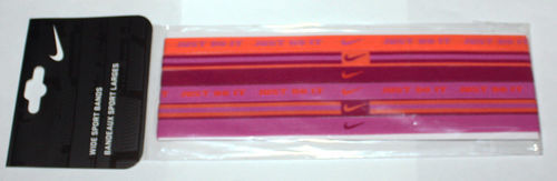 6 Pack NIKE Women's Graphic Wide Sport Hair Bands Laser Crimson/Grape