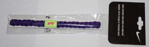 """Nike ½"""" Skinny Braided Hairband Headband -Dark Purple with Neon Yellow Logo"""