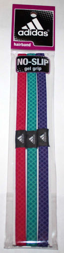 3 Pk adidas Magenta, Teal and Purple With Zigzag Contrast Hairbands (One Size)