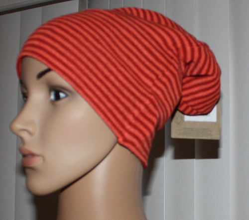 Volcom V CO LOVES Women's Peach & Rust Striped Reversible Beanie Hat (One Size)