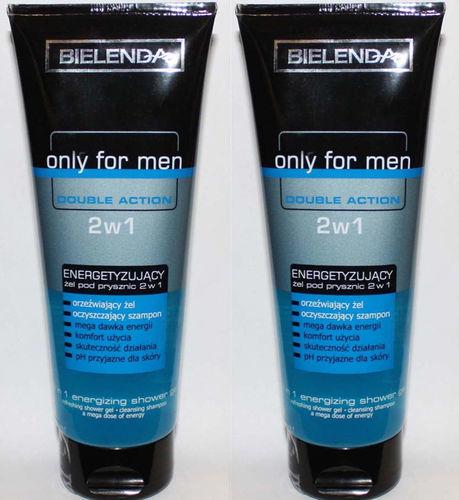 2 Bielenda Only For Men Double Action  2 In 1 Energizing Shower Gel 8.8 oz Each
