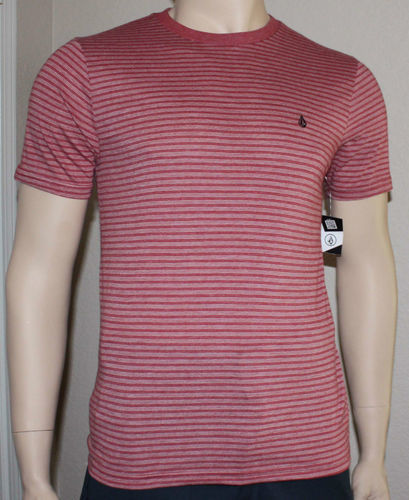 Volcom Men's Striped Crew Neck Shirt - Red -Small