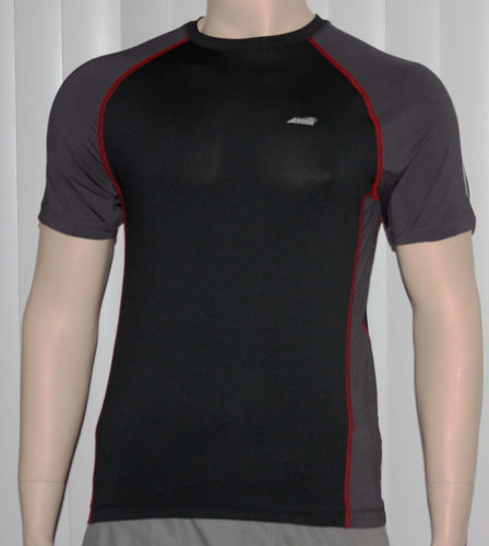 Avia Men's Black and Gray Dri-Control UPF 25 Stretch Fit Shirt (Small)