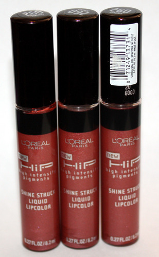 3 L'Oreal HIP Shine Struck Liquid Lip Color Gloss #260 ZEALOUS .27 oz Each