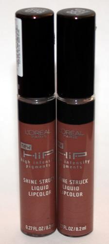2 L'Oreal HIP Shine Struck Liquid Lip Color Gloss #860 PRETENTIOUS .27 oz Each