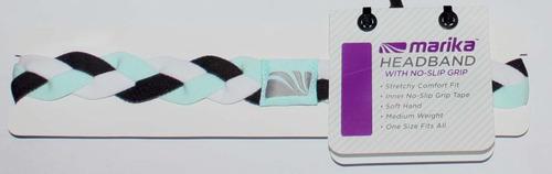 "Marika Women's ¾"" Ice Blue, White & Black Braided No-Slip Grip Headband (One Size)"
