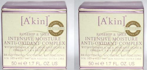 Lot Of 2 A'Kin Rosehip & Shea Intensive Moisture Anti-Oxidant Complex 1.7 oz