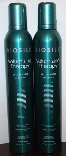 Lot of 2 BioSilk Volumizing Therapy Medium Hold Styling Hair Foam 12.7 oz Each