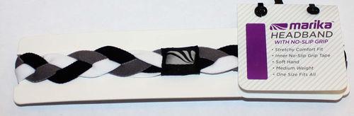 """Marika Women's ¾"""" Gray, Black & White Braided No-Slip Grip Headband (One Size)"""