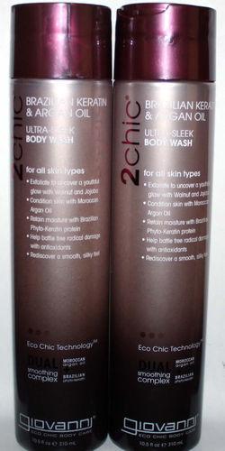 2 Giovanni 2Chic Brazilian, Keratin & Argan Oil Ultra-Sleek Body Wash 10.5 oz