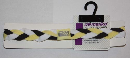 """Marika Women's ¾"""" Yellow, Black & White Braided No-Slip Grip Headband (One Size)"""