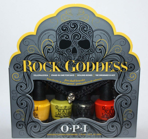 Set Of 4 OPI Rock Goddess MINI Nail Polishes 1/8 oz Each + Free Skull Bracelet
